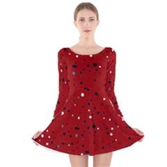 Dots pattern Long Sleeve Velvet Skater Dress