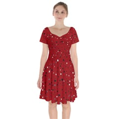 Dots Pattern Short Sleeve Bardot Dress