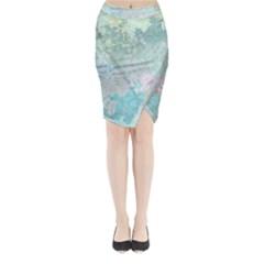 Pastel Garden Midi Wrap Pencil Skirt