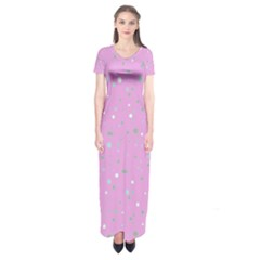 Dots pattern Short Sleeve Maxi Dress