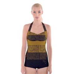 Abstract art  Boyleg Halter Swimsuit