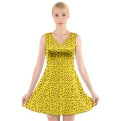 Abstract art  V-Neck Sleeveless Skater Dress