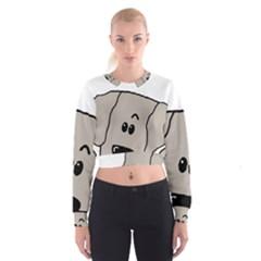 Peeping Weimaraner Cropped Sweatshirt