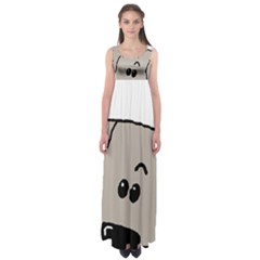 Peeping Weimaraner Empire Waist Maxi Dress