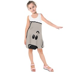 Peeping Weimaraner Kids  Sleeveless Dress