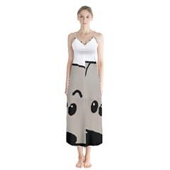 Peeping Weimaraner Button Up Chiffon Maxi Dress