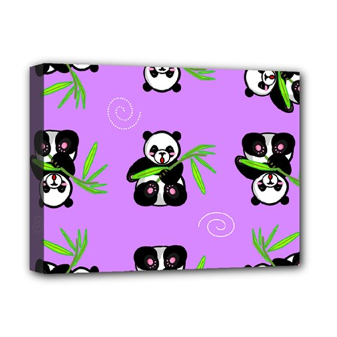 Panda Purple Bg Deluxe Canvas 16  x 12