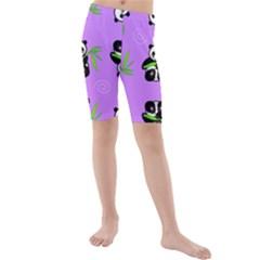 Panda Purple Bg Kids  Mid Length Swim Shorts