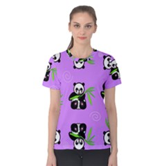 Panda Purple Bg Women s Cotton Tee
