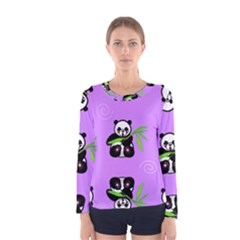 Panda Purple Bg Women s Long Sleeve Tee