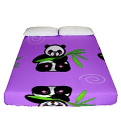 Panda Purple Bg Fitted Sheet (Queen Size)