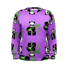 Panda Purple Bg Women s Sweatshirt