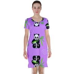 Panda Purple Bg Short Sleeve Nightdress