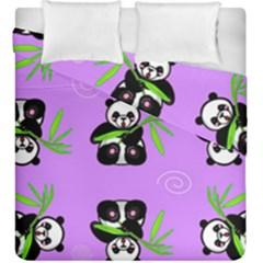 Panda Purple Bg Duvet Cover Double Side (King Size)