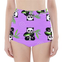 Panda Purple Bg High-Waisted Bikini Bottoms