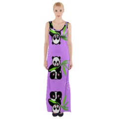 Panda Purple Bg Maxi Thigh Split Dress