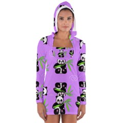 Panda Purple Bg Women s Long Sleeve Hooded T-shirt