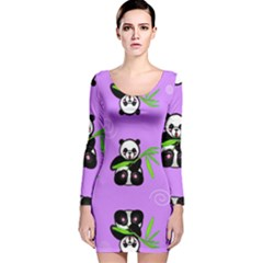 Panda Purple Bg Long Sleeve Velvet Bodycon Dress