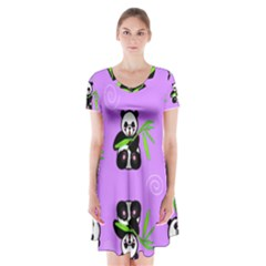 Panda Purple Bg Short Sleeve V-neck Flare Dress