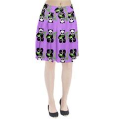 Panda Purple Bg Pleated Skirt