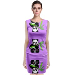 Panda Purple Bg Sleeveless Velvet Midi Dress