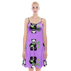 Panda Purple Bg Spaghetti Strap Velvet Dress