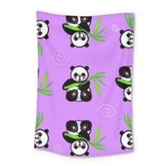 Panda Purple Bg Small Tapestry