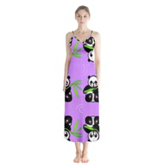 Panda Purple Bg Button Up Chiffon Maxi Dress