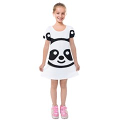 Panda Head Kids  Short Sleeve Velvet Dress