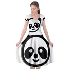 Panda Head Cap Sleeve Wrap Front Dress