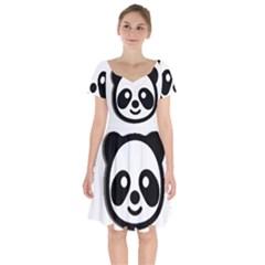 Panda Head Short Sleeve Bardot Dress