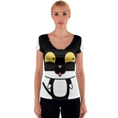 Panda Cat Women s V-Neck Cap Sleeve Top