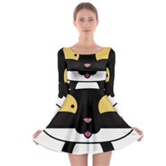Panda Cat Long Sleeve Skater Dress