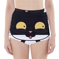 Panda Cat High-Waisted Bikini Bottoms