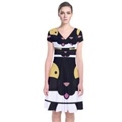 Panda Cat Short Sleeve Front Wrap Dress
