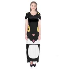 Panda Cat Short Sleeve Maxi Dress