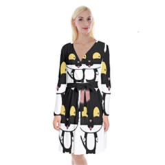 Panda Cat Long Sleeve Velvet Front Wrap Dress