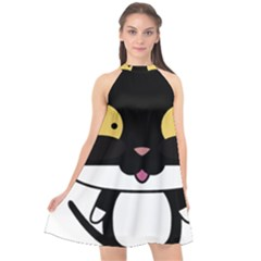 Panda Cat Halter Neckline Chiffon Dress