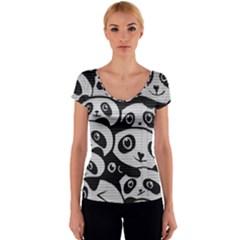 Panda Bg Women s V-Neck Cap Sleeve Top