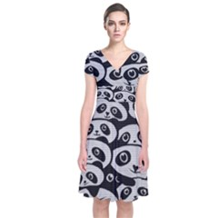 Panda Bg Short Sleeve Front Wrap Dress