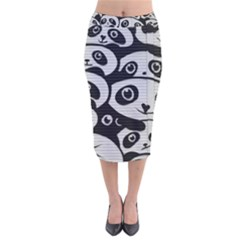Panda Bg Velvet Midi Pencil Skirt