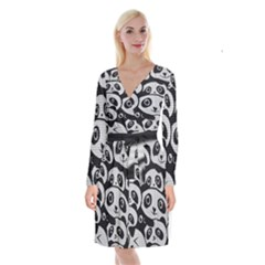 Panda Bg Long Sleeve Velvet Front Wrap Dress