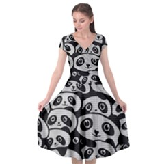 Panda Bg Cap Sleeve Wrap Front Dress