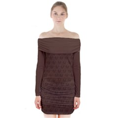 Chocolate Mud Di Signature Long Sleeve Off Shoulder Dress