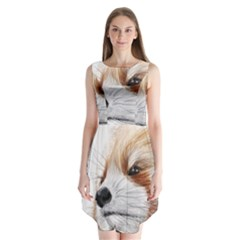 Panda Art Sleeveless Chiffon Dress