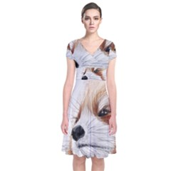 Panda Art Short Sleeve Front Wrap Dress