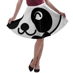 Adorable Panda A-line Skater Skirt