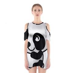 Adorable Panda Shoulder Cutout One Piece