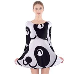 Adorable Panda Long Sleeve Velvet Skater Dress