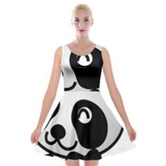 Adorable Panda Velvet Skater Dress
